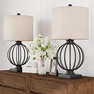 Home Lavish Table Lamps-Set of 2 Wrought Iron Open Cage Orb Lights Bulbs and Linen Shades Included-Modern Rustic Décor