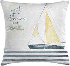 Ambesonne Nautical Throw Pillow Cushion Cover, Let Your Dreams Set Sail Words Stripes Yacht Interior Navigation Theme, Decorative Square Accent Pillow Case, 16