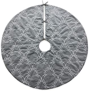 Homey COZY 56 inch Large Christmas Tree Skirt,Gray and Silver Floral Vine Luxury Embroidered Velvet Christmas Decoration - Holiday Wreath