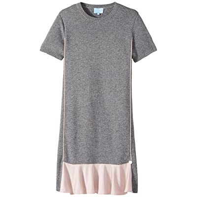 Lanvin Kids Short Sleeve Knit Dress with Contrast Ruffles On Front (Big Kids) (Grey/Pink) Girl