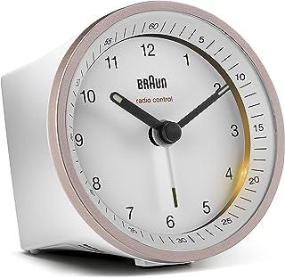 Klassisk analog trådlös väckarklocka från Braun för den melleruropeiska tidszonen (MEZ/GMT+1) med snooze-funktion och bely...