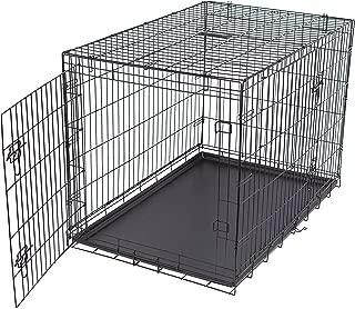 Internet's Best Wire Dog Kennel - Double Door Metal Steel Crates - Indoor Outdoor Pet Home - Folding and Collapsible Cage