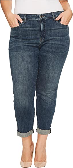 Plus Size Boyfriend Jeans in Crosshatch Denim in Desert Gold