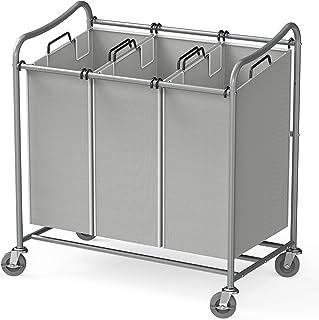 Simple Houseware Heavy-Duty 3-Bag Laundry Sorter Cart, Silver