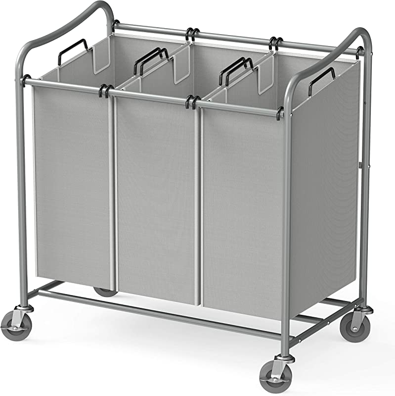 Simple Houseware Heavy Duty 3 Bag Laundry Sorter Cart Silver