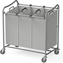 Simple Houseware 3-Bag Laundry Sorter Rolling Cart Silver