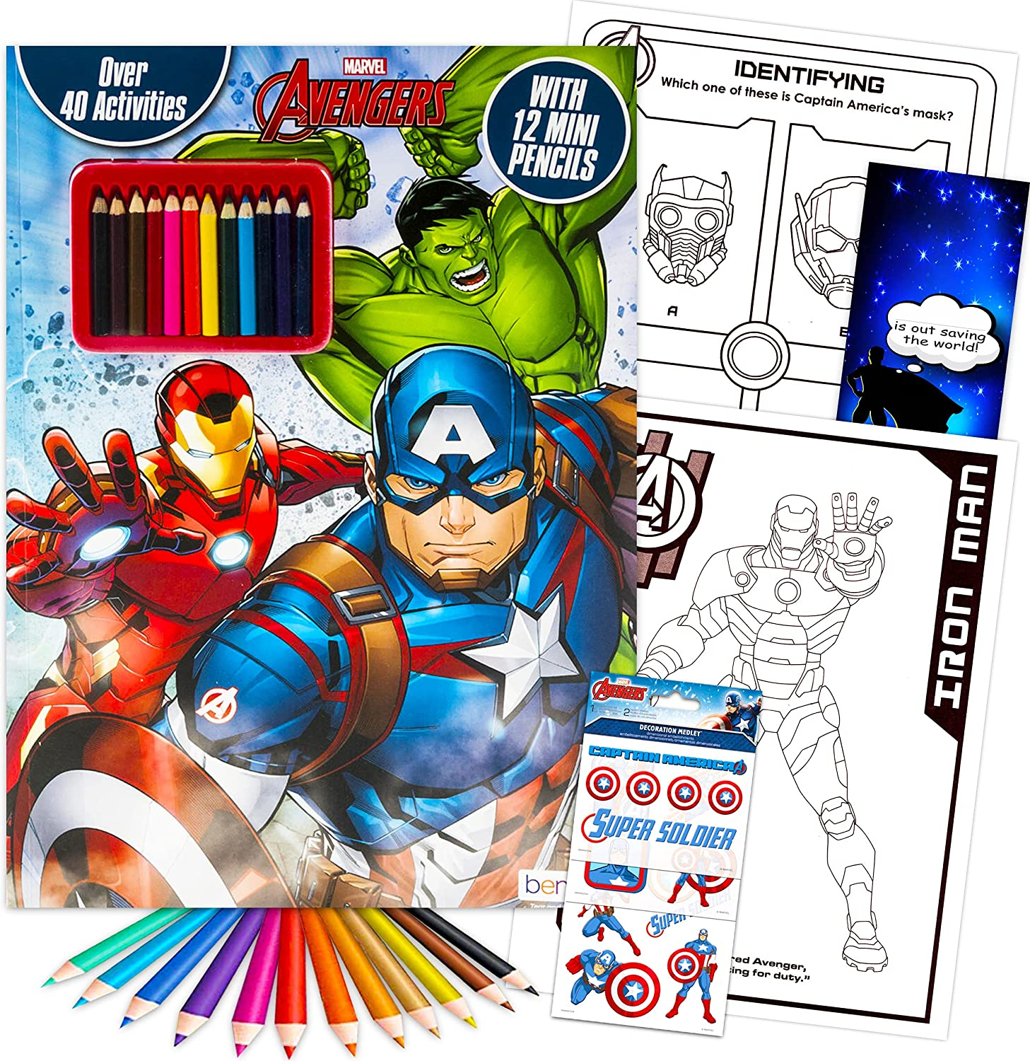 Marvel Avengers Activity Book Set Popular overseas with 3 Coloring ~ Mini Finally resale start Pencils