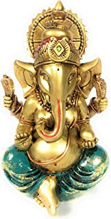 Ganesha Statue Elephant Hindu God of Success Large 9.5-inch-tall Resin Ganesh Idol Hand-Painted in Gold Indian Decor Perfect Gift for Wedding and Diwali Decoration