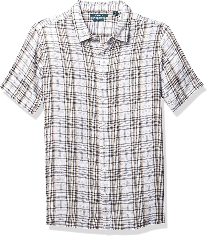 Perry Ellis Men's Big & Tall Untucked Linen Plaid Short Sleeve Button-Down Shirt