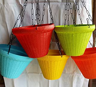 Gardener'z Paradise Plastic Hanging Planter With Chain, Mix Colour, 5 Pieces