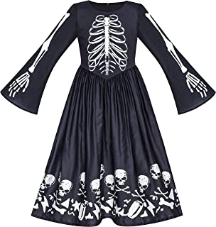 Sunny Fashion Robe Fille Halloween Fantôme Crâne Vampire Fille Cosplay 7 Ans