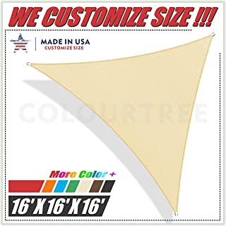 ColourTree 16' x 16' x 16' Beige Sun Shade Sail Triangle Canopy, UV Resistant Heavy Duty Commercial Grade, We Make Custom Size