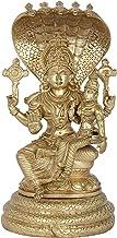 Lord Vishnu with Goddess Lakshmi Seated on Sheshanaga (Hoysala Art) - Bronze Statue