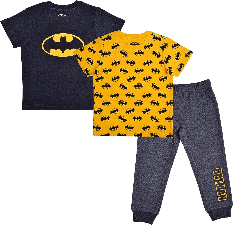 BATMAN Warner Bros 3 Piece Jogger Set for Boys, Short...