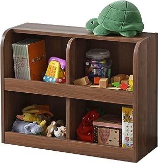 ワイエムワールド おもちゃラック 子ども用本棚 絵本棚 2列 2段 ウォールナット 00-204