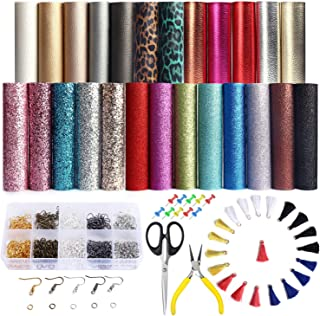 25 PCS A5 Size Faux Leather Sheets, 5 Styles Synthetic Leather Sheets (Super Shiny& Glitter& Pearlized& Metallic& Leopard Printed) with Earring Hooks, Tassel Hoop for Earring Making Crafts
