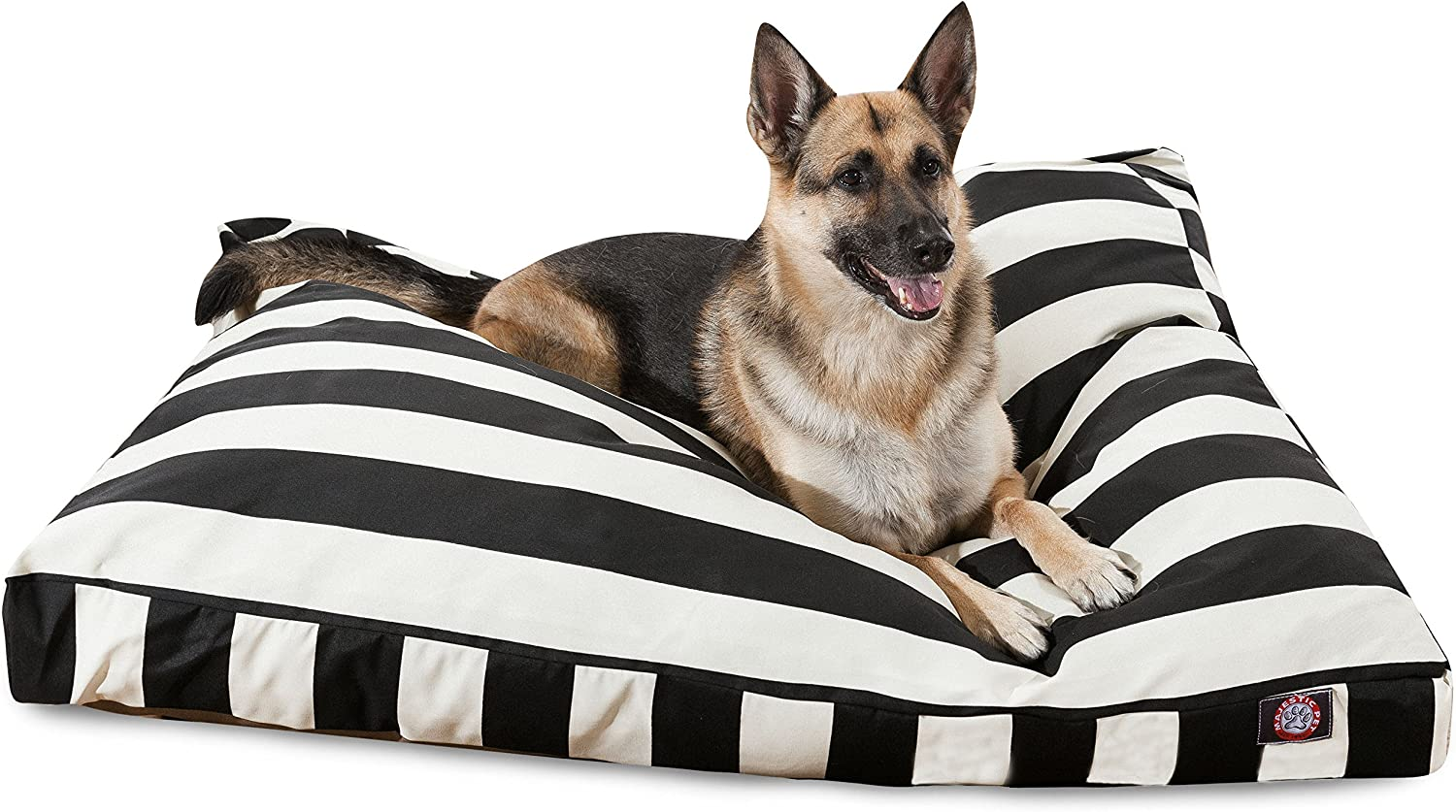 Black greenical Stripe Extra Large Rectangle Indoor Outdoor Pet Dog Bed With Removable Washable Cover By Products