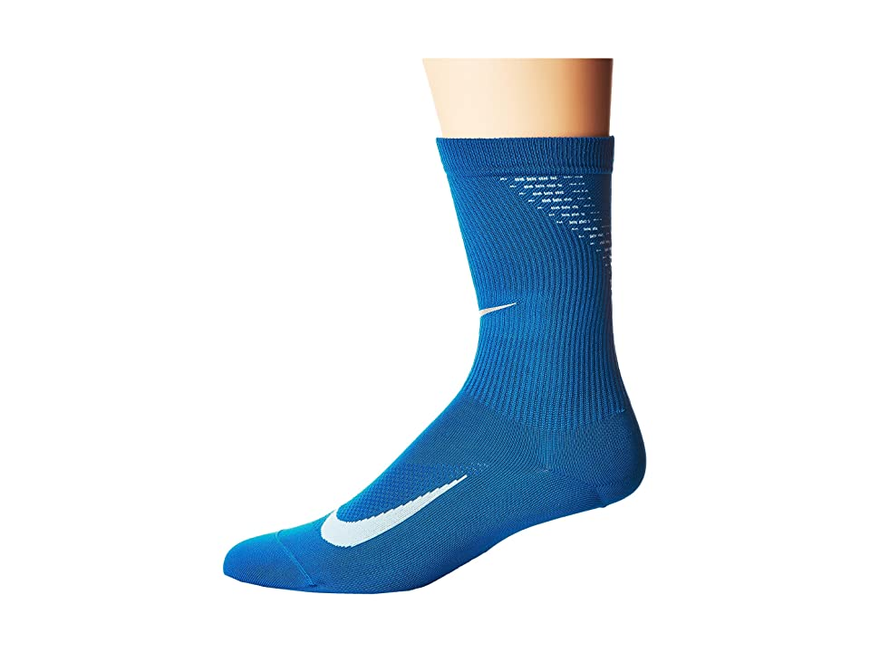 Nike Elite Run Lightweight 2.0 Crew (Blue Jay/Hydrogen Blue) Crew Cut Socks Shoes