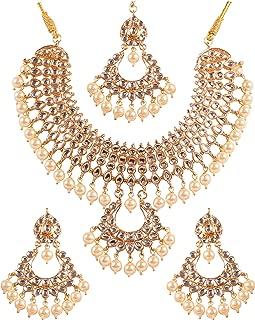 New Indian Bollywood Desire Exclusive Mughal Era Inspired Stylish Traditional Kundan Polki Look Designer Bridal Designer Jewelry Choker Necklace Set for Women.