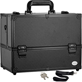 Makeup Train Case Professional Adjustable – 6 Trays Cosmetic Cases Makeup Storage..