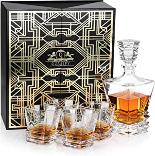 Quasify 5 Pieces Set In Luxury Gift Box - 1 Decanter And 4 Whiskey Glasses With A 30 Pages Recipe And Tips Magazine