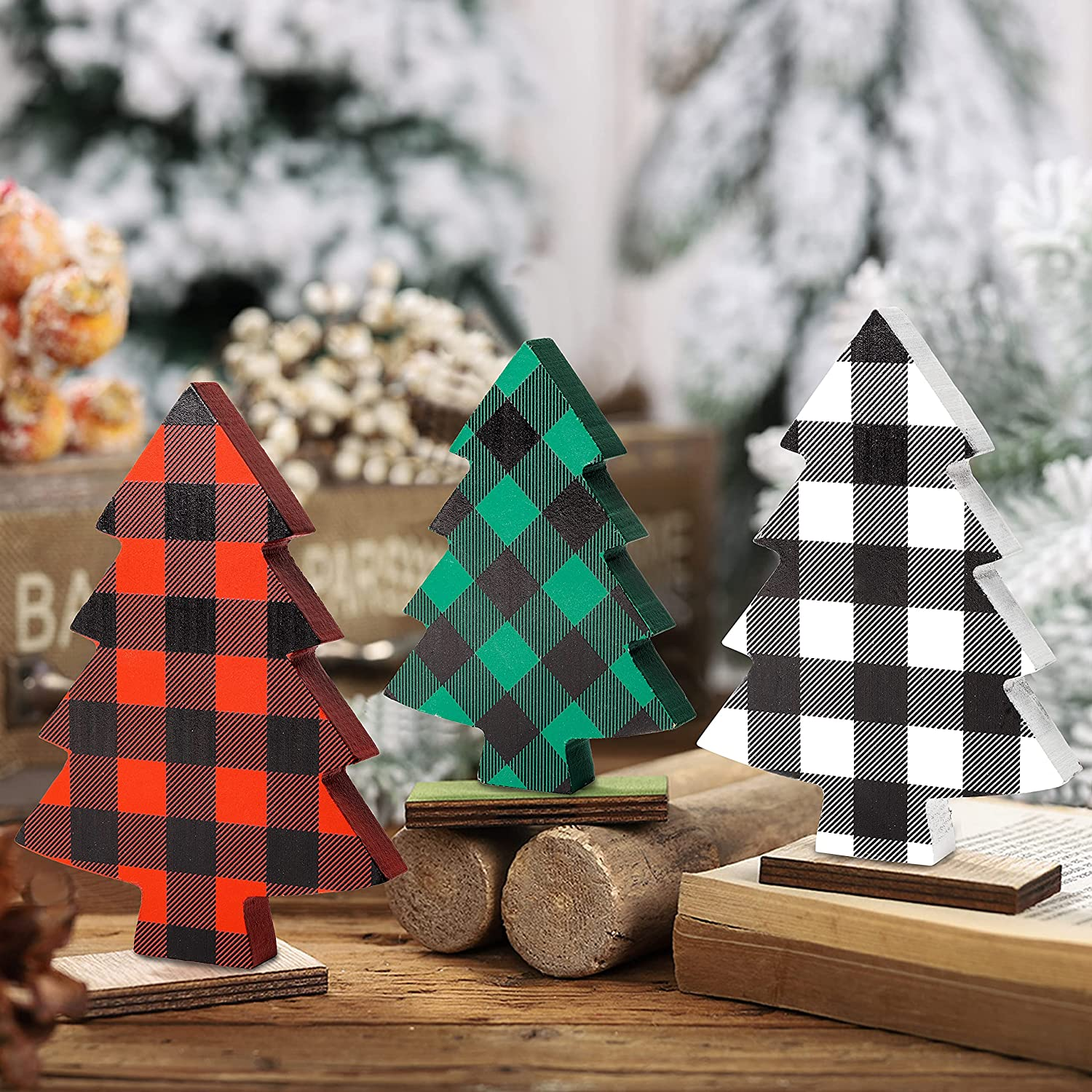 OSNIE 3 Pieces Christmas Tree Buffalo Plaid Tiered Tray Decor Xmas Freestanding Wooden Table Signs Reversible Rustic Wood Centerpiece Tabletop for Christmas Holiday Farmhouse Home Party Decorations