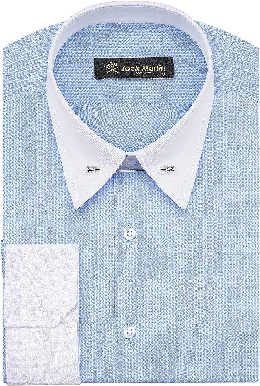 Jack Martin - Camisa de Rayas con Cuello Pin - Camisas Formales de Corte Slim para Hombre