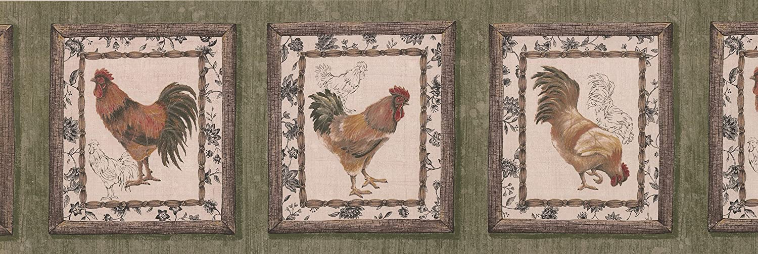 Retro Rooster Paintings on Green Mesa Mall Vintage Border Wall Wallpaper Classic