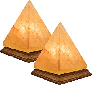 Crystal Allies: Natural Himalayan Pyramid Salt Lamp on Wood Base with Cord, Light Bulb & Authentic Crystal Allies Info Card - Pack of 2