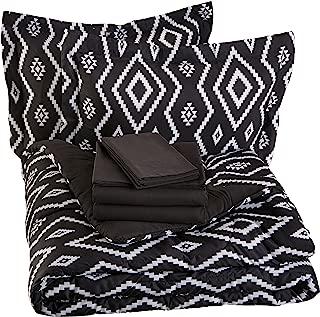 AmazonBasics 7-Piece Bed-In-A-Bag, Full / Queen Bedding Comforter Sheet Set, Black Aztec, Microfiber, Ultra-Soft