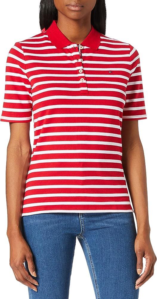 Tommy hilfiger  polo,maglietta per donna a maniche corte,96% cotone, 4% elastan TH ESS REGULAR STRIPED POLO S