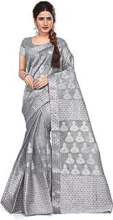 S Kiran's S Kiran's Women Plain Weave Cotton Saree With Un-Stitched Blouse Piece, Mekhela & Chador (NuniGrey3412Purple_Grey)