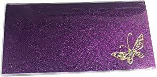 Checkbook Cover with Butterfly and Includes Register and Photo Card Holder (Purple Glitter)