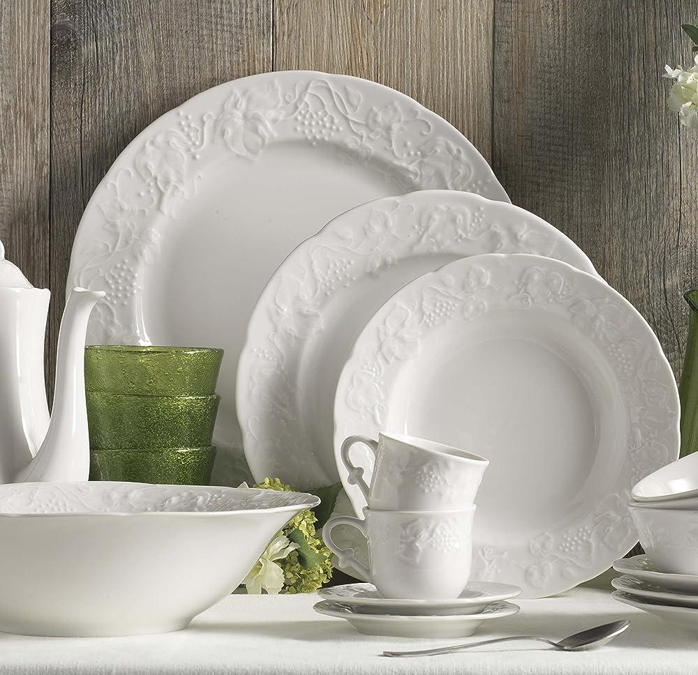 Kaleidos, servizio di piatti 18 pezzi, in porcellana con decoro a rilievo 13183