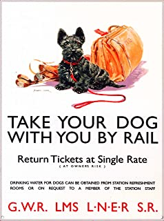 Take Your Dog with you by Rail Scottish Terrier England Great Britain United Kingdom G.W.R. LMS Vintage Railroad Travel Home Collectible Wall Decor Advertisement Art Poster Measures 10 x 13.5 inches.