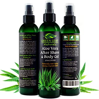 Aloe Vera After Shave & Body Gel - Unscented - Naturally Anti-Aging Derma-Fuel for Men by Green Leaf Naturals - 99.8% Organic - Pump Dispenser Included - 8 Ounces