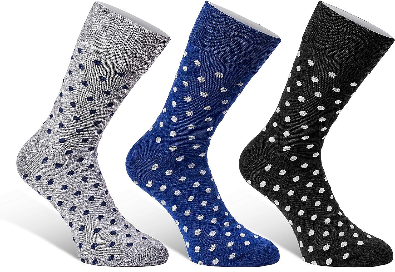 Colorful Mens Dress Socks - 3 Pack Set - Fun Patterns Polka Dot Gift Boxed - Size 7-12