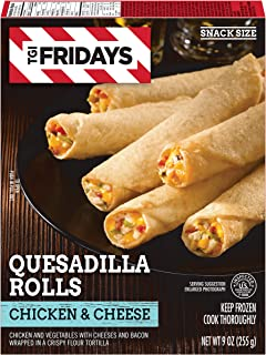 TGI Fridays Chicken & Cheese Quesadilla Rolls Frozen Appetizers, 9 oz Box