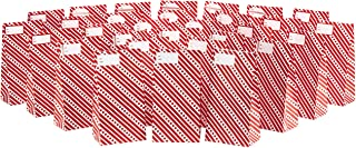 Hallmark Red and White Stripe Party Favor and Wrapped Treat Bags with Gift Tag Stickers (30 Bags, 30 Labels) for Christmas, Friendsmas, Valentines Day, Birthdays and More