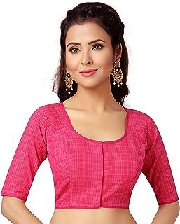 STUDIO Shringaar Handloom Cotton Readymade Saree Blouse With Elbow Length Sleeves.