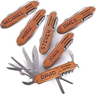 Personalized 8-Function Multi-Tool Pocket Knife, Custom Knives, Engraved Names, Groomsmen Fathers Day and Gift for Him Single Set of 6