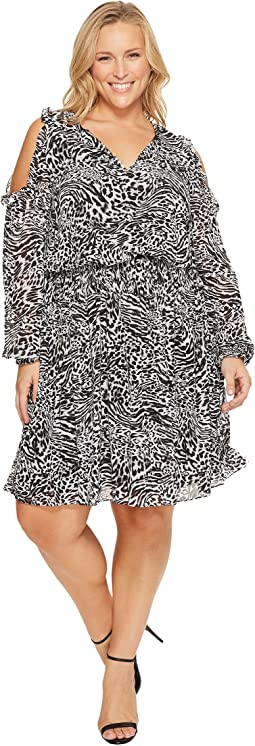 MICHAEL Michael Kors - Plus Size Big Cat Cold Shoulder Woven Dress