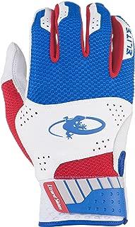 Lizard Skins Komodo Elite Youth Batting Gloves (White/Blue/Crimson, Youth Small)