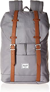 Herschel Retreat Backpack, Grey/Tan Synthetic Leather, Mid-Volume 14.0L