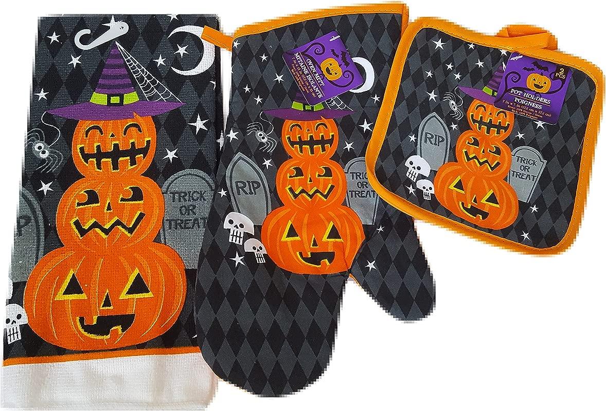 Halloween Pumpkins Oven Mitts Pot Holders And Halloween Hand Towels Set