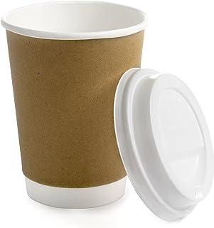Earth's Natural Alternative ECCLID12-120CSE 12oz Double Wall Kraft Paper Cup w. Lid 120sets/case, 240 Pieces, 120 Count, N...