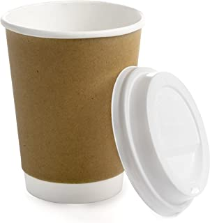 Earth's Natural Alternative Double Wall Kraft Paper Coffee Cup + Lid, 12 oz, Tan, 50 Count