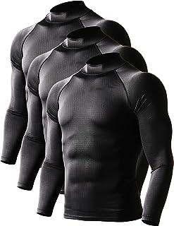 DEFN メンズ スポーツ 長袖 ラウンドネック ハイネック コンプレッション シャツ パワーストレッチ アンダーウェア コンプレッションウェア [UVカット・吸汗速乾]