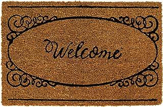 Paillasson avec inscription décorative pour entrée, tapis marron en fibre de coco 40 x 60 cm, design moderne, pour intérie...