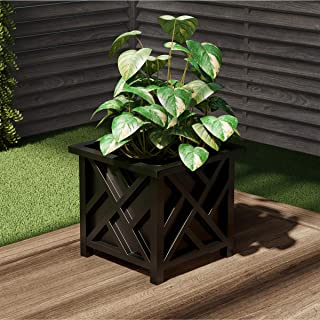 Pure Garden 50-LG5010 Black Square Planter Box Lattice Container for Flowers & Plants